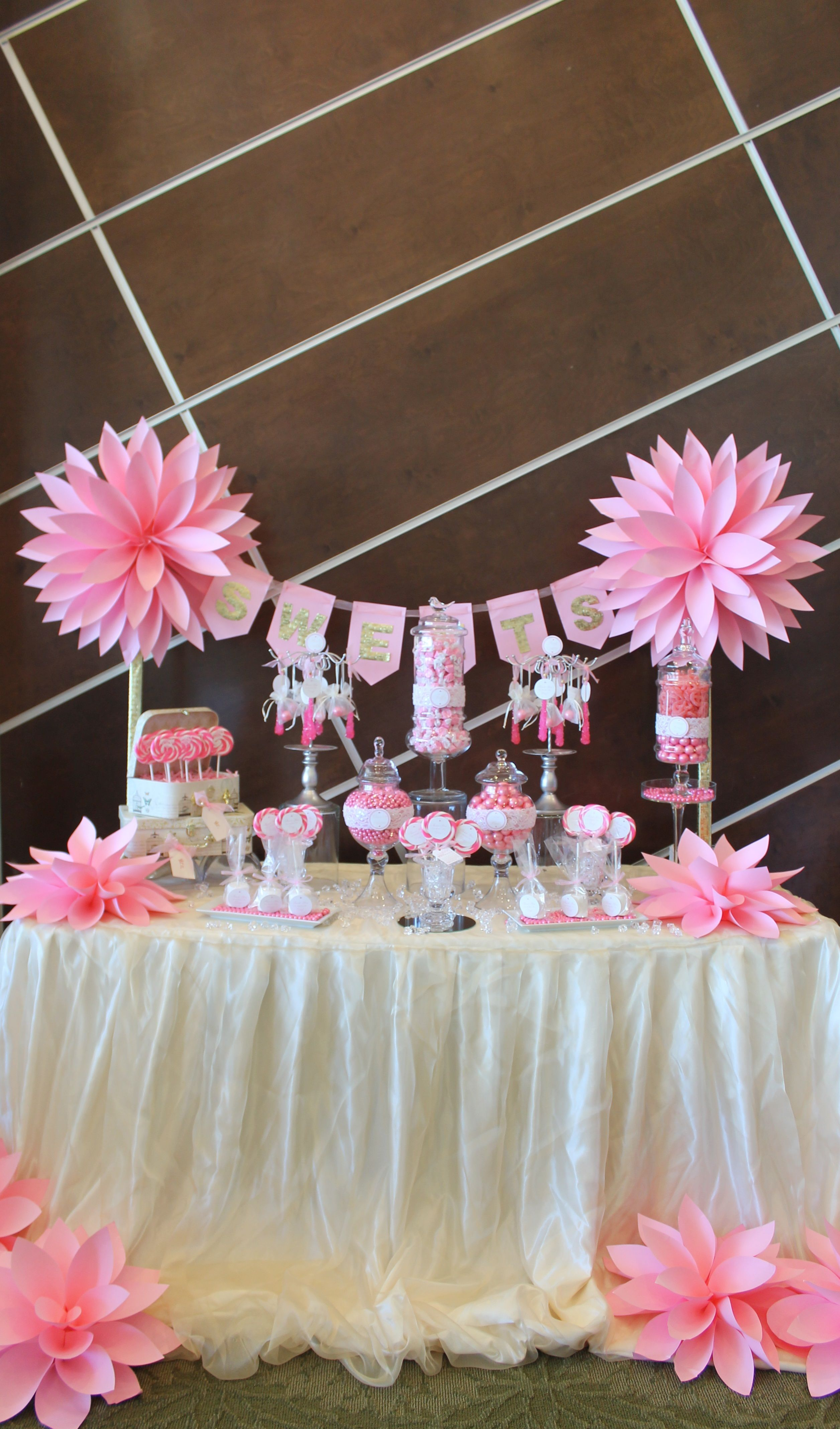 Sweet amp sparkly wedding candy buffet pictures to pin on pinterest - By Tasty Tables Pink Candy Buffet Pink Flowers Paper Flowers Candy Buffet San Diego Wedding Petite Table Small Dessert Table