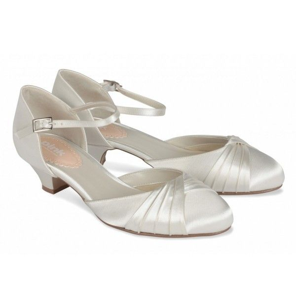 Pink Paradox Protea Dyeable Ivory Satin Low Heel Wedding Shoes
