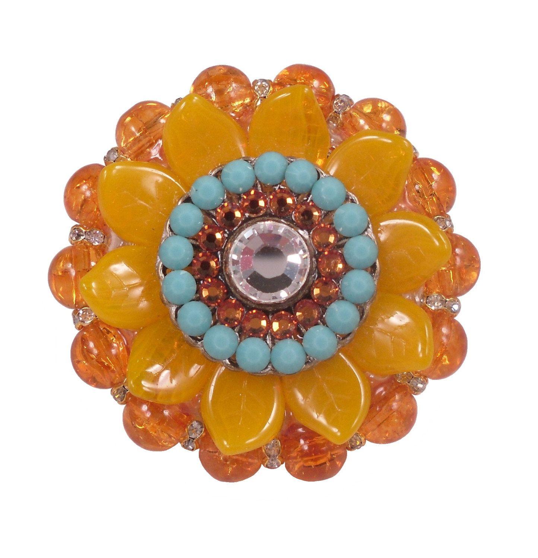 Art Deco Furniture Knob Swarovski Crystal Yellow Flowerorange Glass Cabinet