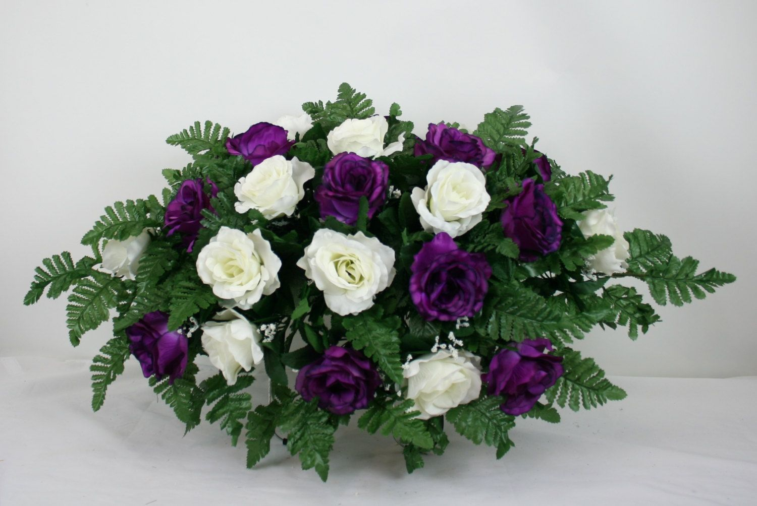 Mother's Day Purple and White Roses Silk Flower Cemetery Tombstone Saddle by Crazyboutdeco on Etsy