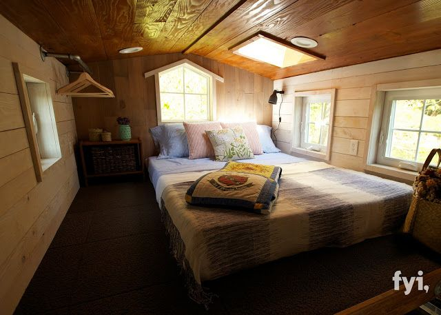 The loft bedroom of the Barn Chic house a 300 sq ft tiny house