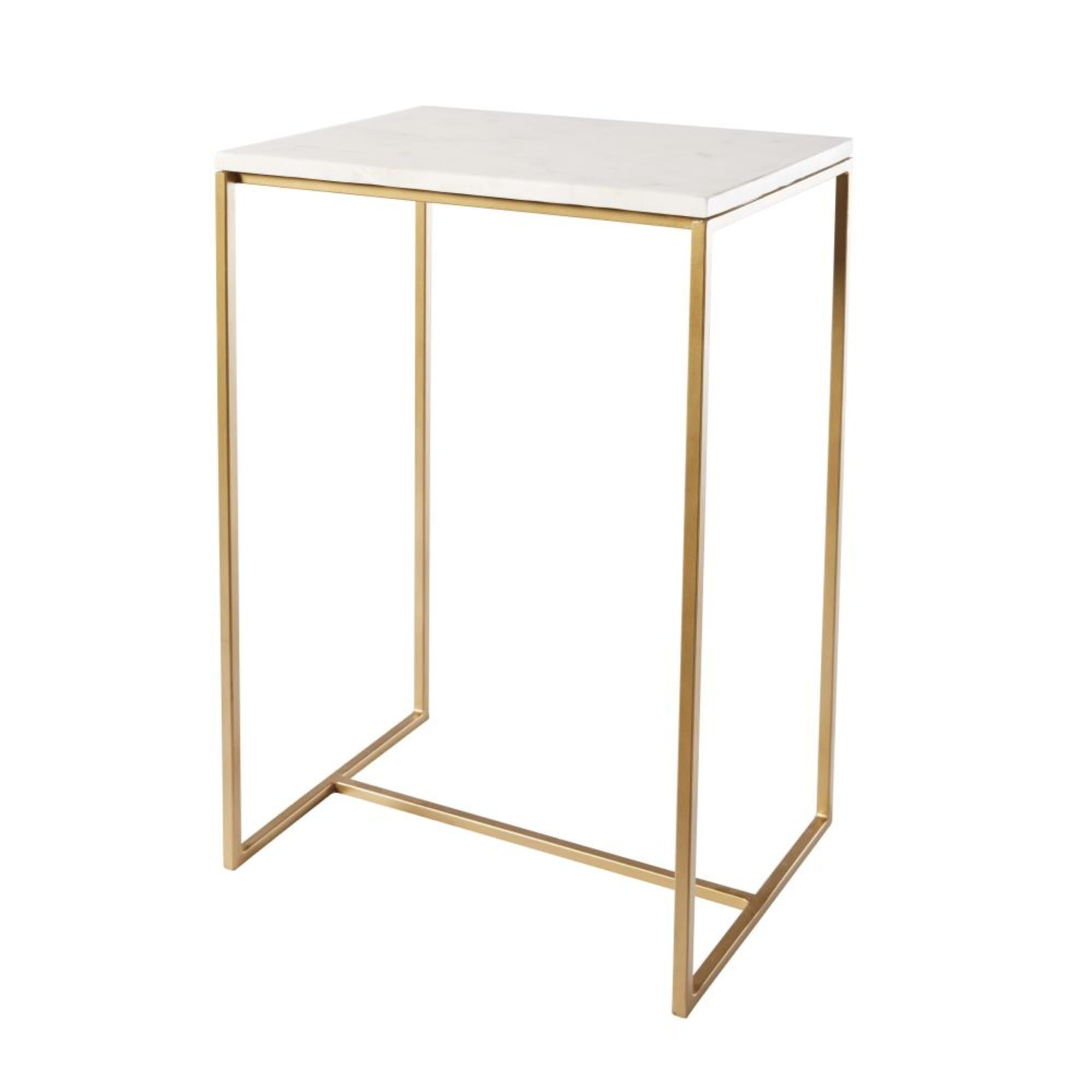 White Marble And Gold Metal Side Table Metal Side Table Marble