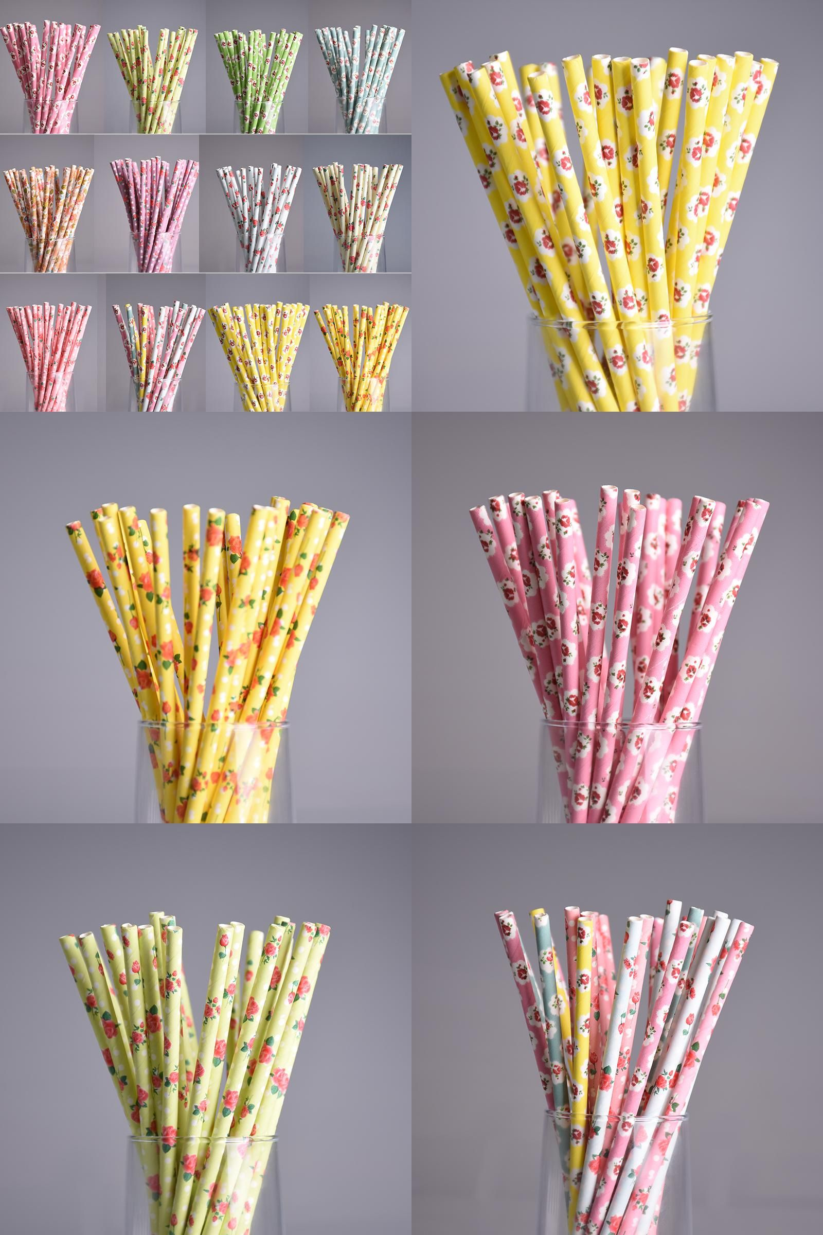 [Visit to Buy] New 50pcs/lot Colorful Drinking Paper Straws For Kids Wedding Birthday Party drinking Prom Straws Vintage Retro Floral Tubes #Advertisement