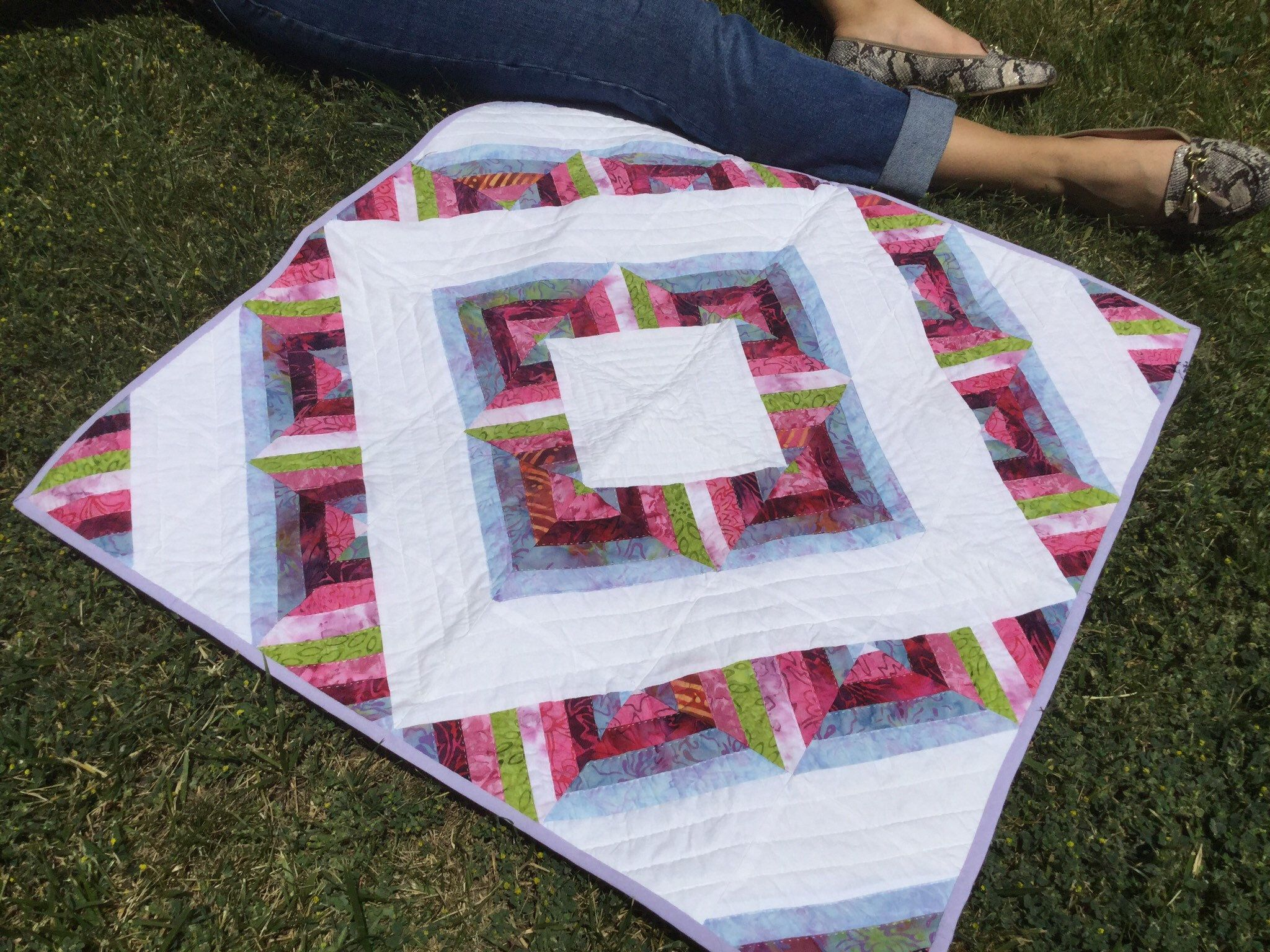 Colorful Table Decor, Tie Dye, Quilted Table Runner, Wedding Gift, Rainbow Tie Dye, Square, Patchwork