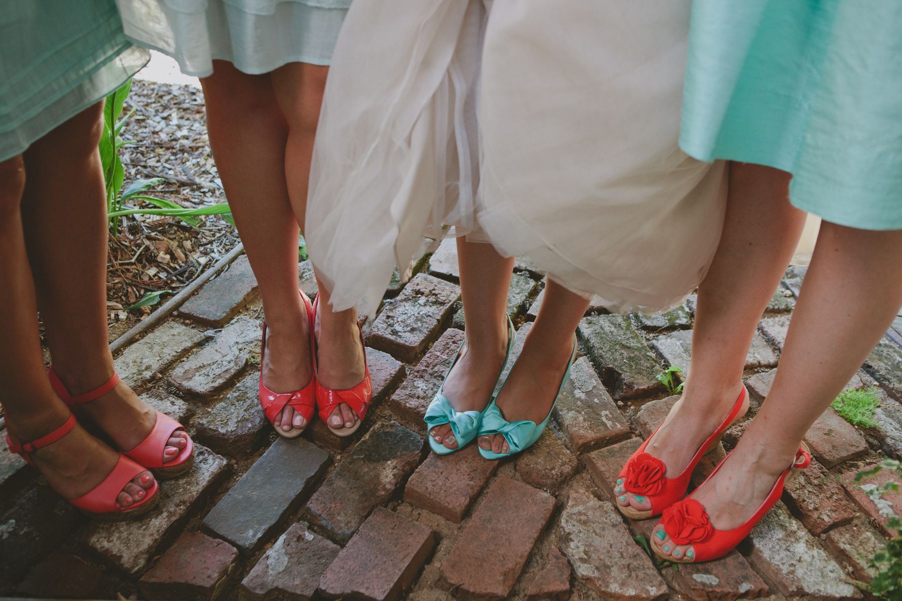 mismatched coral and vermillion red bridesmaid shoes aqua