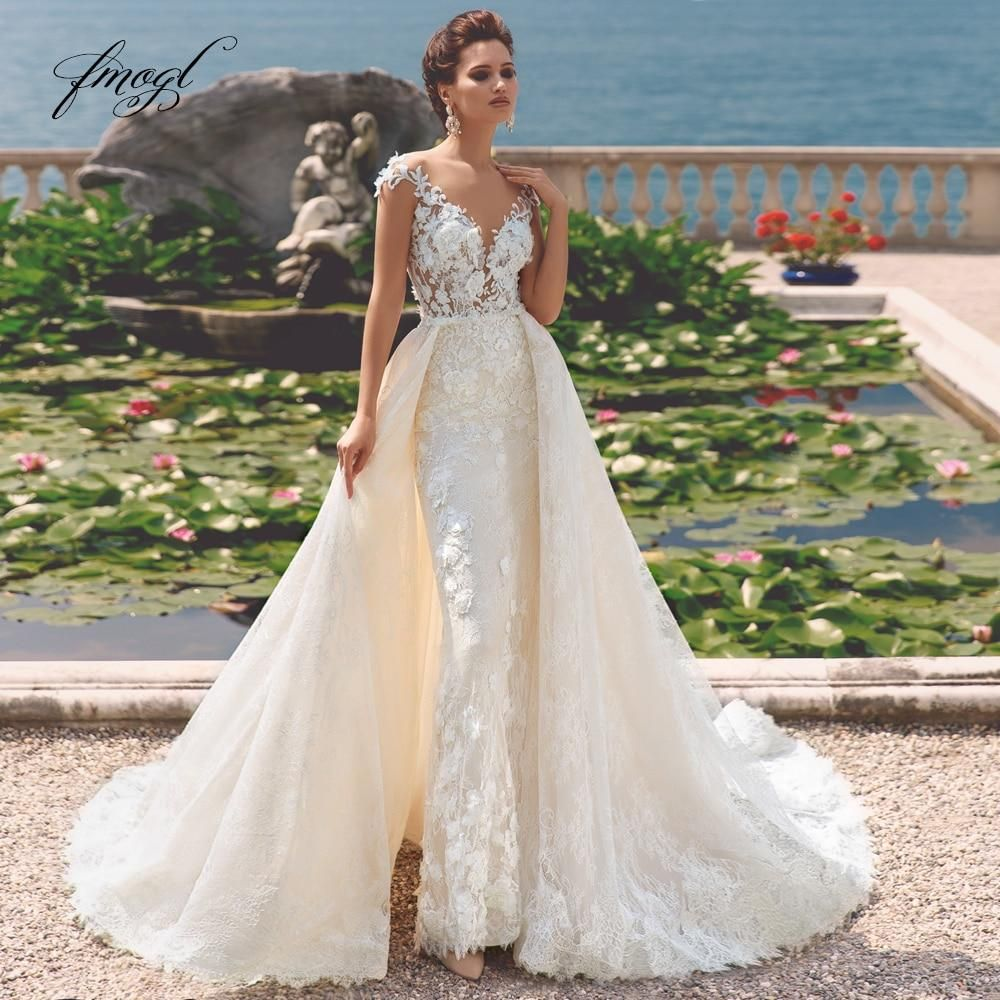 Luxury Detachable Train Lace Mermaid Wedding Dresses Elegant Scoop Neck Appliques Flowers Vintage Bridal Gowns Sizes 2 24w Cheap Wedding Dress Detachable Train Wedding Dress White Lace Wedding Dress [ 1000 x 1000 Pixel ]