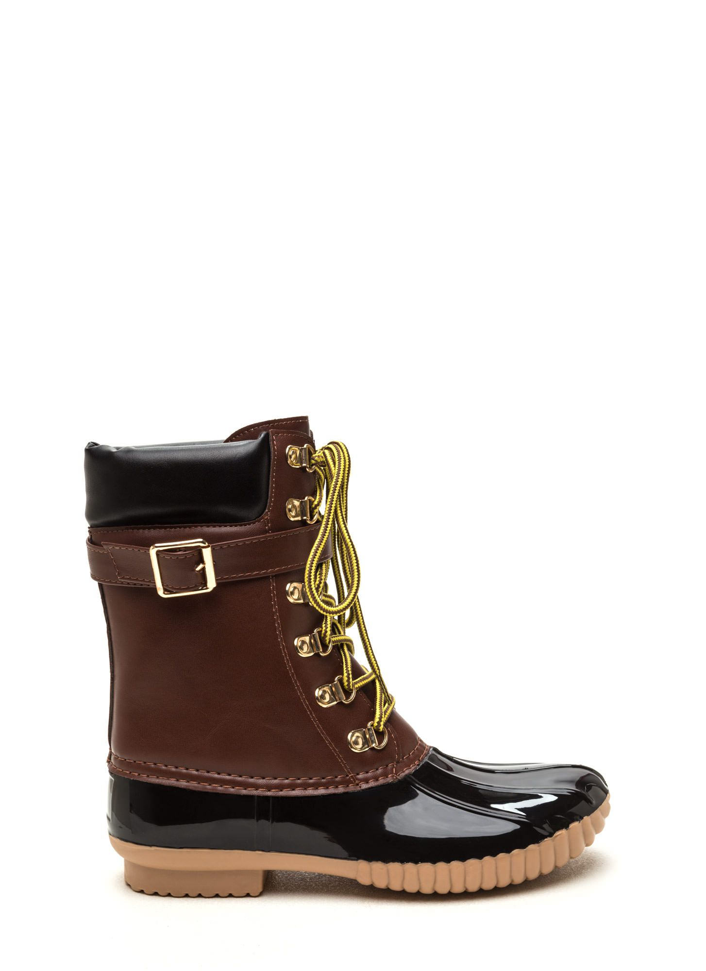 Tread Climber Faux Leather Duck Boots BLACK RED - GoJane.com