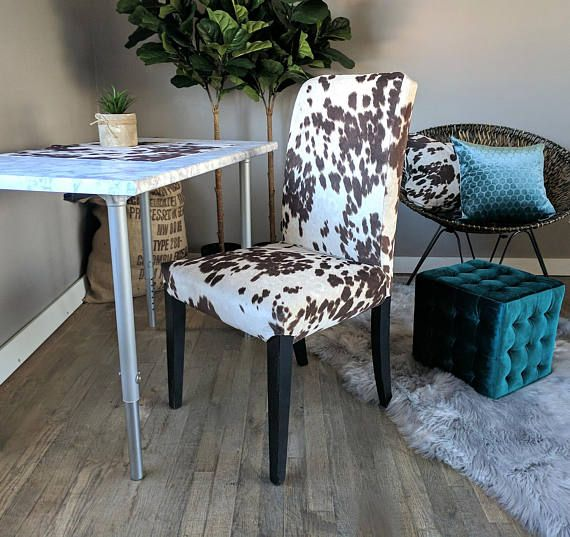 Cow Print Chair Chairs For Sleeping Upright Brown Ikea Henriksdal Dining Cover Custom