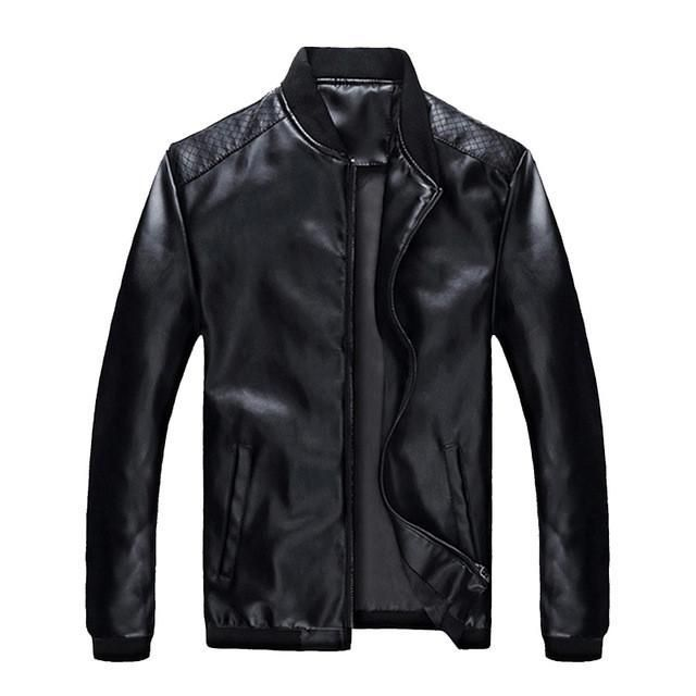 HEE GRAND 2017 New Mens Leather Jacket Warm Fashion Casual Stand Collar Men Leather Coats 3 Color MWP410