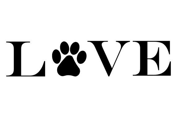 Love Paw Print Vinyl Decal For Any Wall Window Car