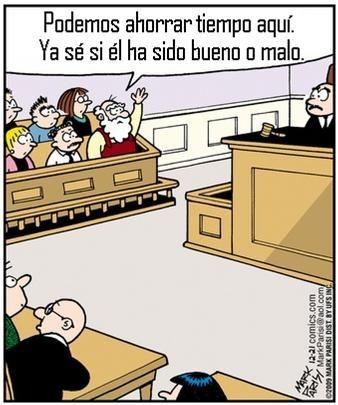 Santa actuando como jurado.