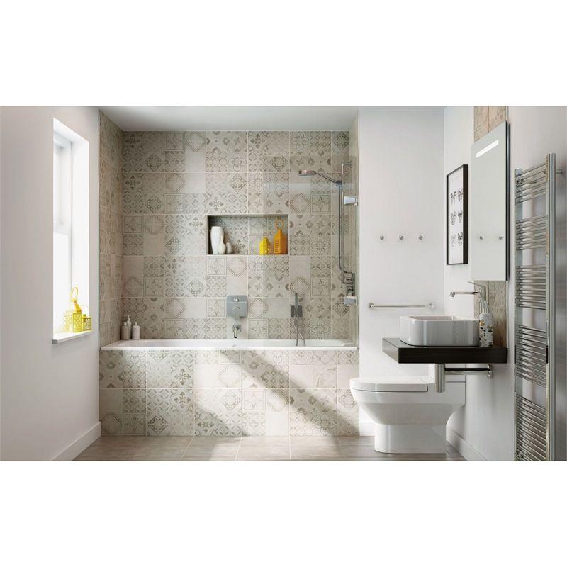 Atlas Grey Patchwork Ceramic Wall & Floor Tile 9 Pack At