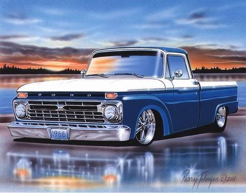 1966 Ford F100 Styleside Pickup Truck Art Print Blue & White 11x14 Poster