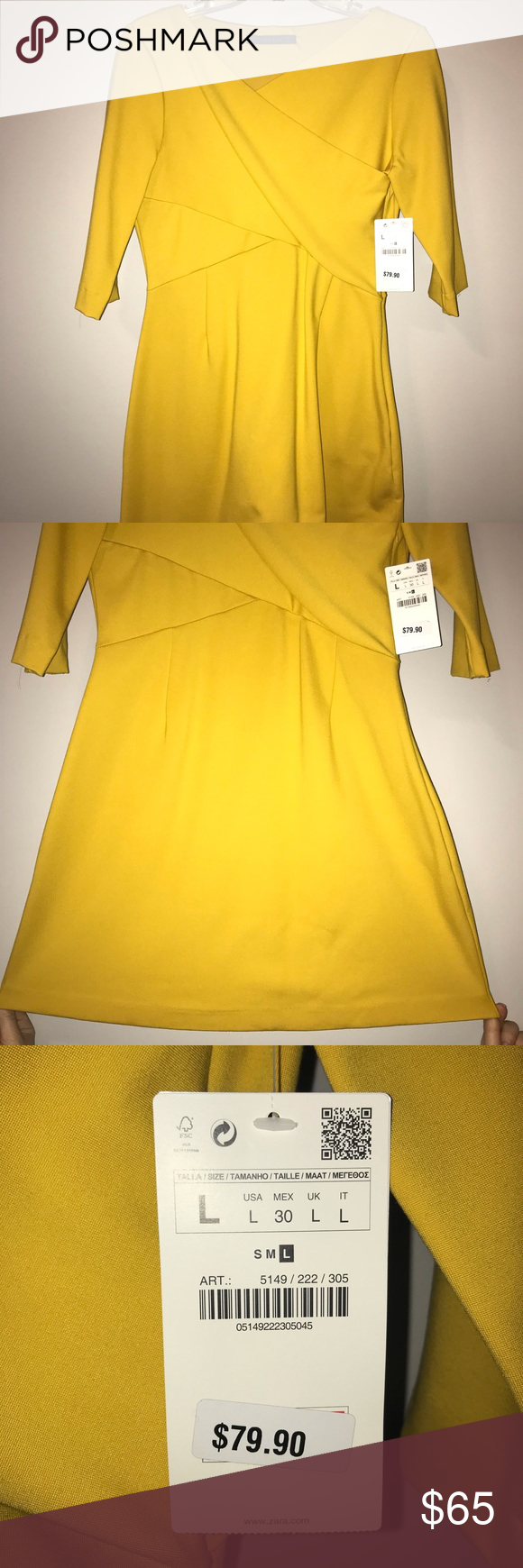 aa8e9372 ZARA Short Dress NWT Short, yellow dress with mid quarter sleeves from Zara.  Brand new with tags. Soft material. Zara Dresses Mini