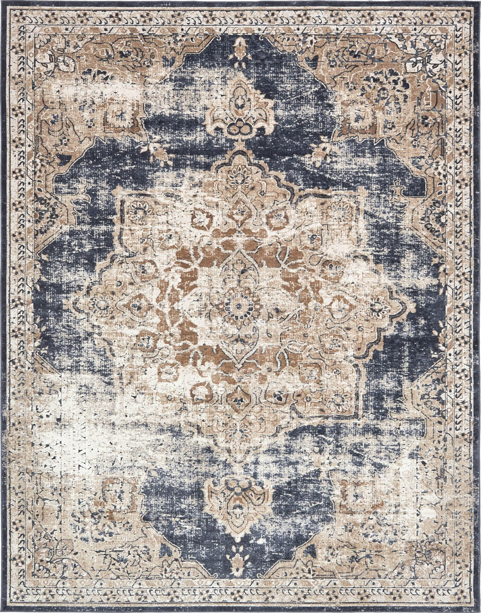 Abbeville Persian Inspired Dark Blue Area Rug With Images Blue