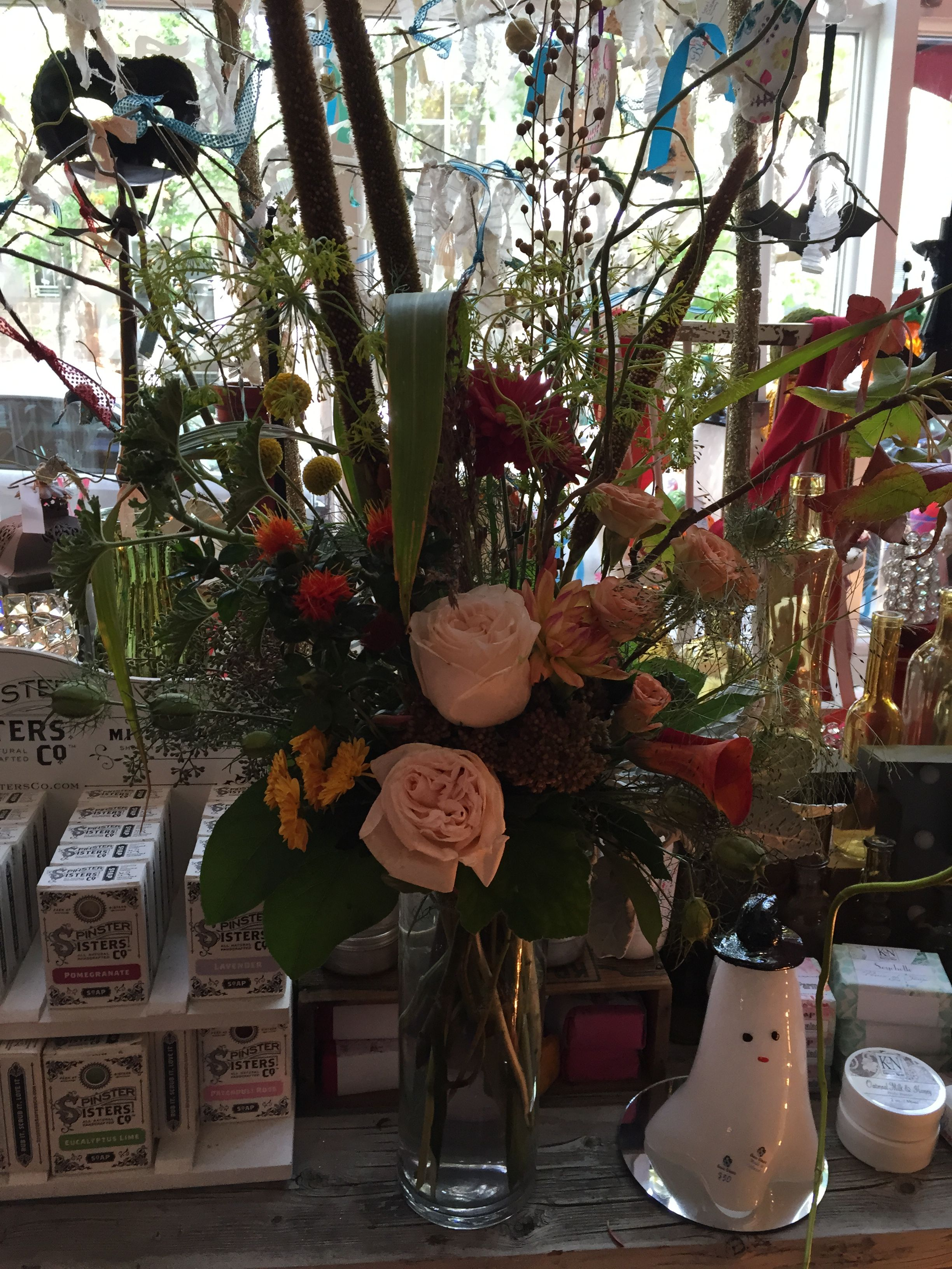 Blush Garden Roses, Dill, Orange Flame Calla Lilies, Dahlias, Craspedia, Blush Spray Roses, Nigella Pods, Seeded Eucalyptus,