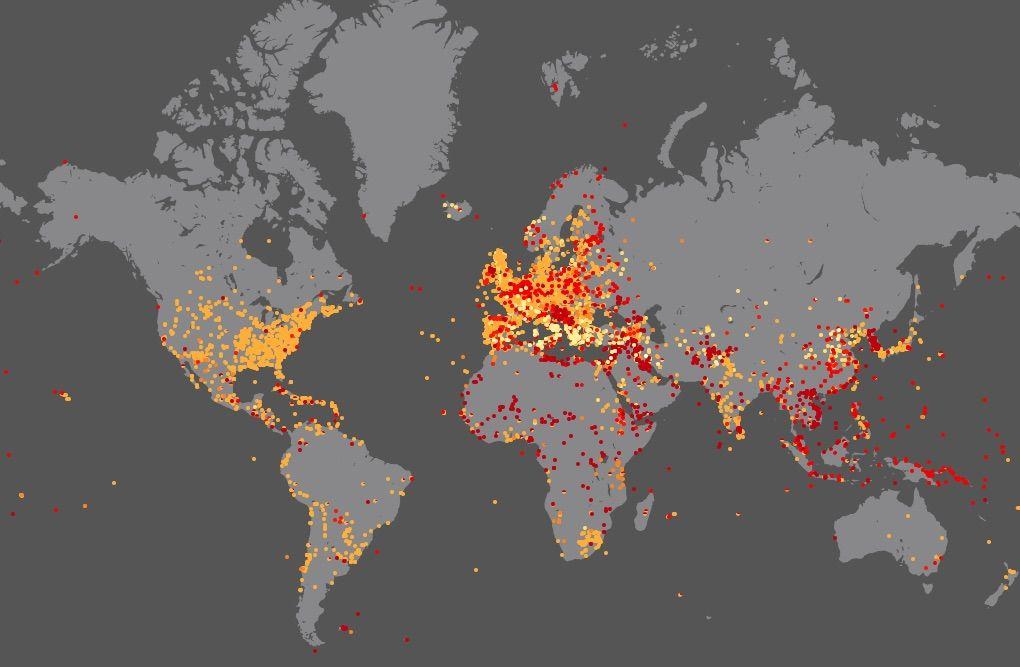 Wszystkie Bitwy w Historii Świata na Mapie - Źródło: nodegoat.net