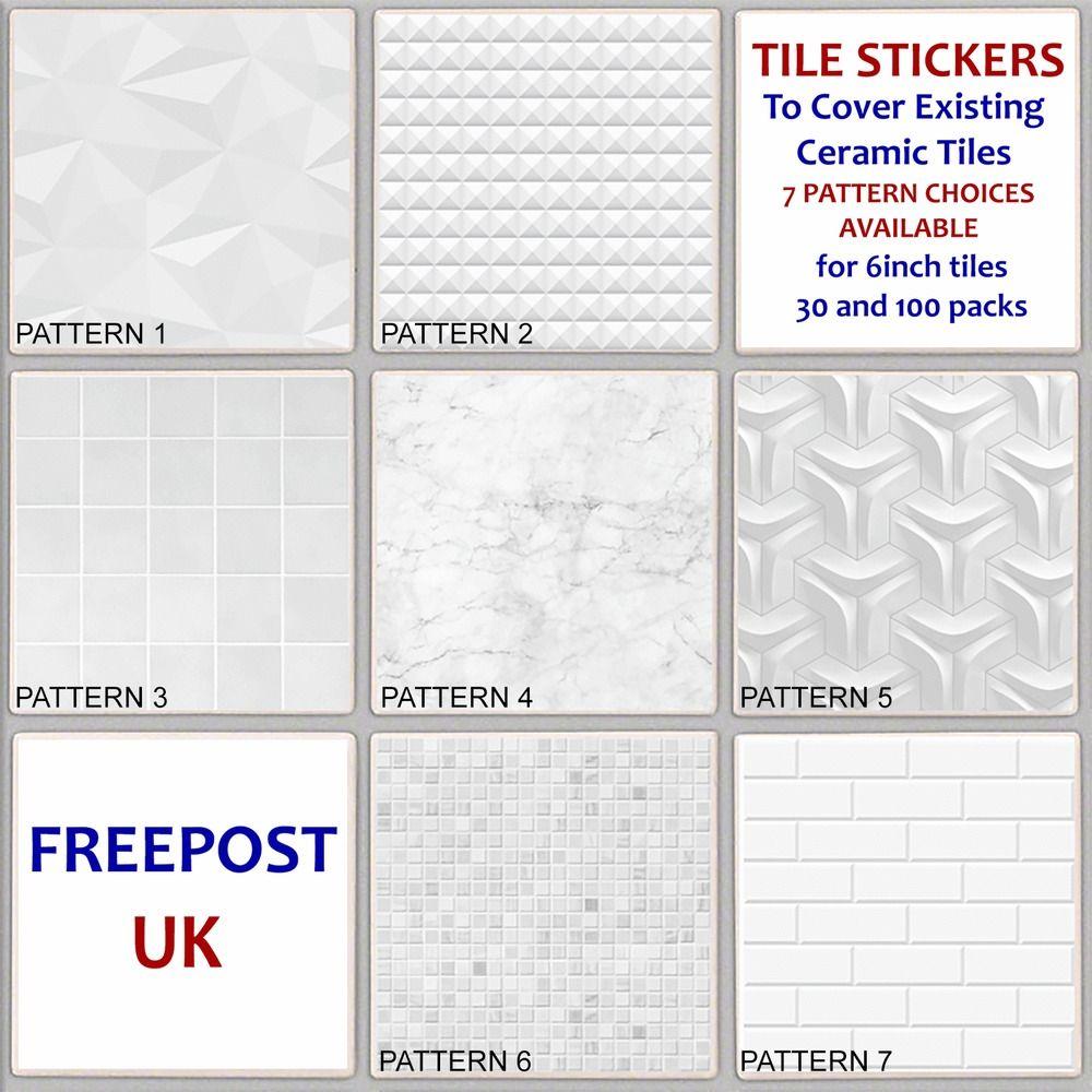White Pattern Tile Sticker Decal Cover Up Kitchen Bathroom Marble Ceramic Tp25 Tile Patterns Tile Stickers Kitchen Marble Sticker