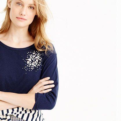 Three-quarter-sleeve embellished T-shirt