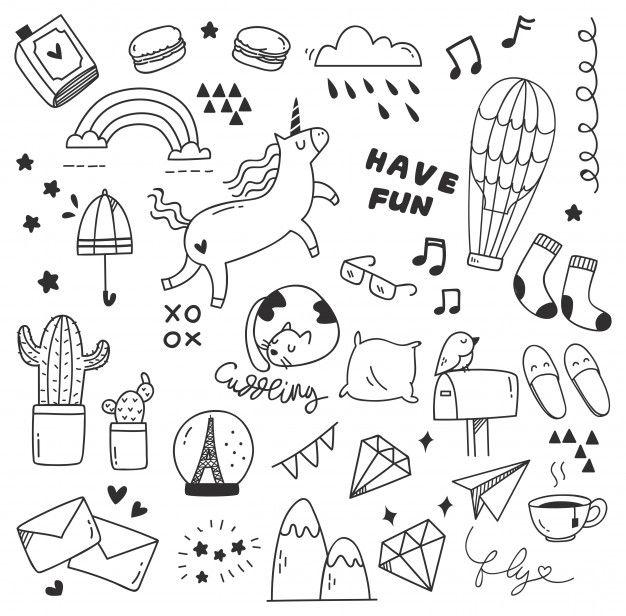 Conjunto De Doodle Lindo With Images Doodle Art Designs Cute