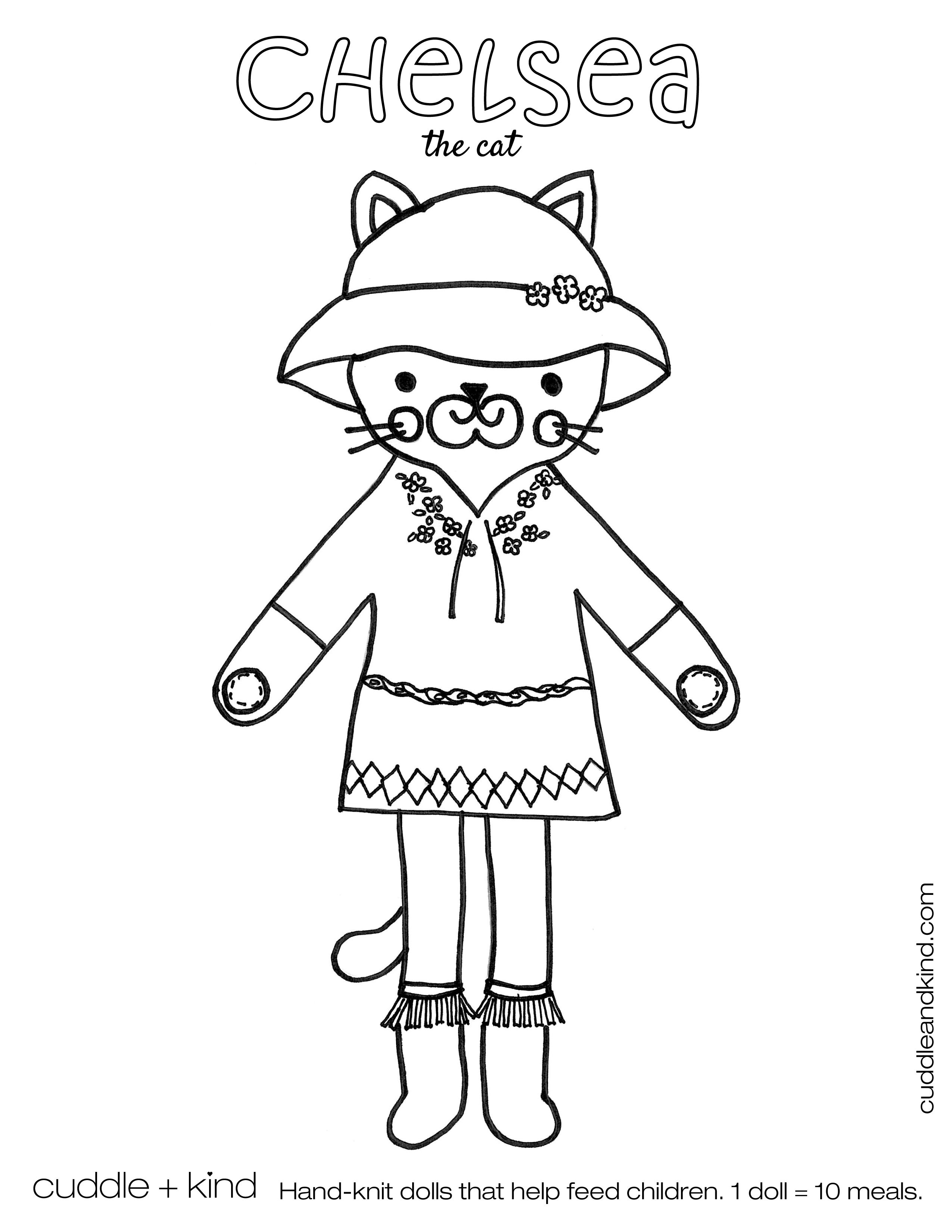 Cuddle Kind Chelsea The Cat Colouring Sheet Ddleandkind