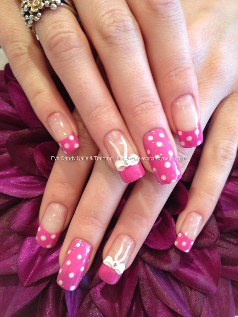 Pink polka dots with 3D bows #NailArt #Nails Taken at:28/04/2012 10 ...