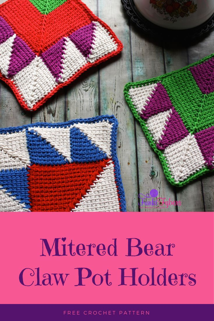 Mitered Bear Claw Pot Holder - Free crochet pattern Double layered ...