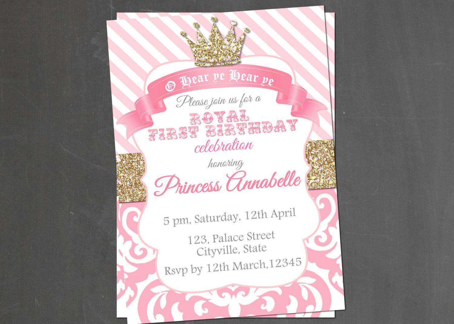 Princess invitation royal princess birthday invites royal princess princess invitation birthday party pink white party printable gold royal crown by littlepinkelephant03 on etsy https stopboris Gallery