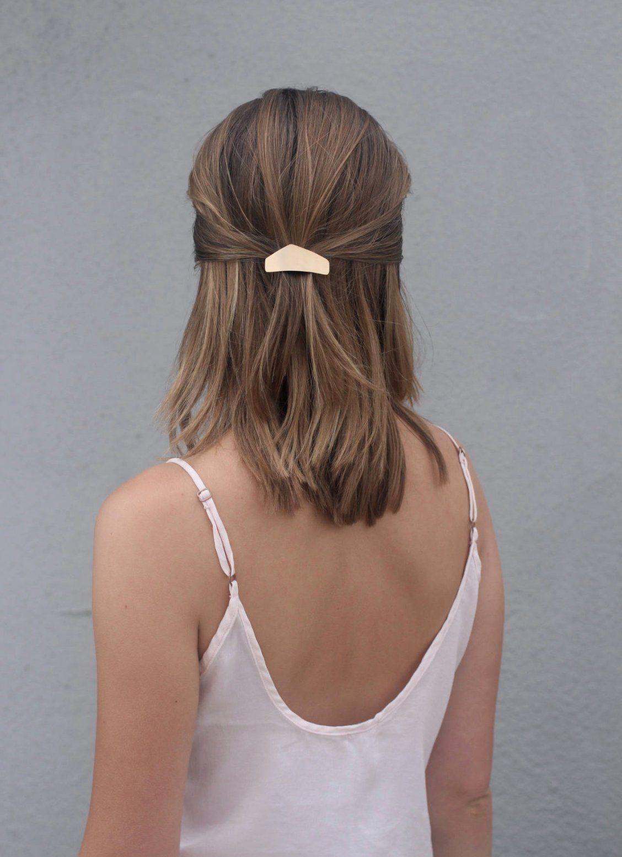 metal hair clip brass hair barrette minimalist hair clip