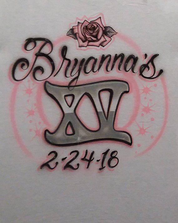 4169698e Quinceanera Blush Pink Rose Roman Numeral XV Script Name Design Custom  Airbrush T Shirt