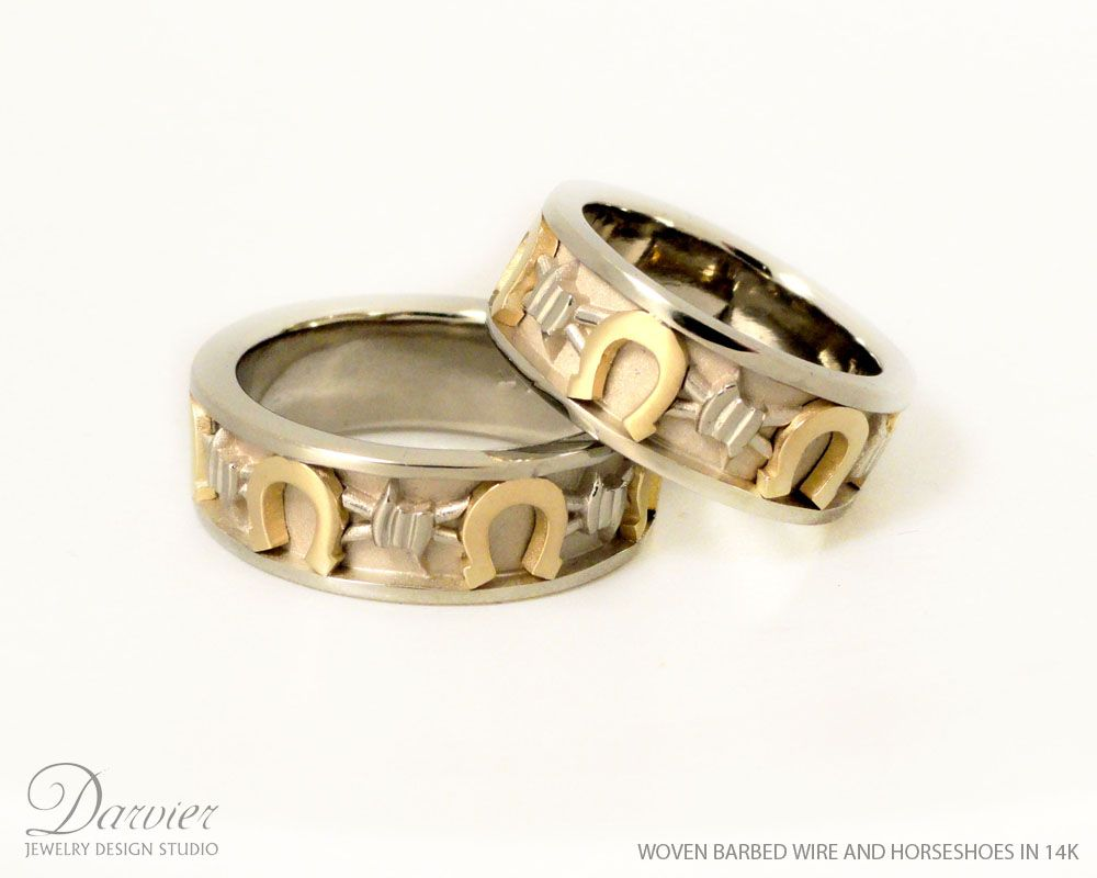 Horseshoe and barbed wire wedding rings custom made custom