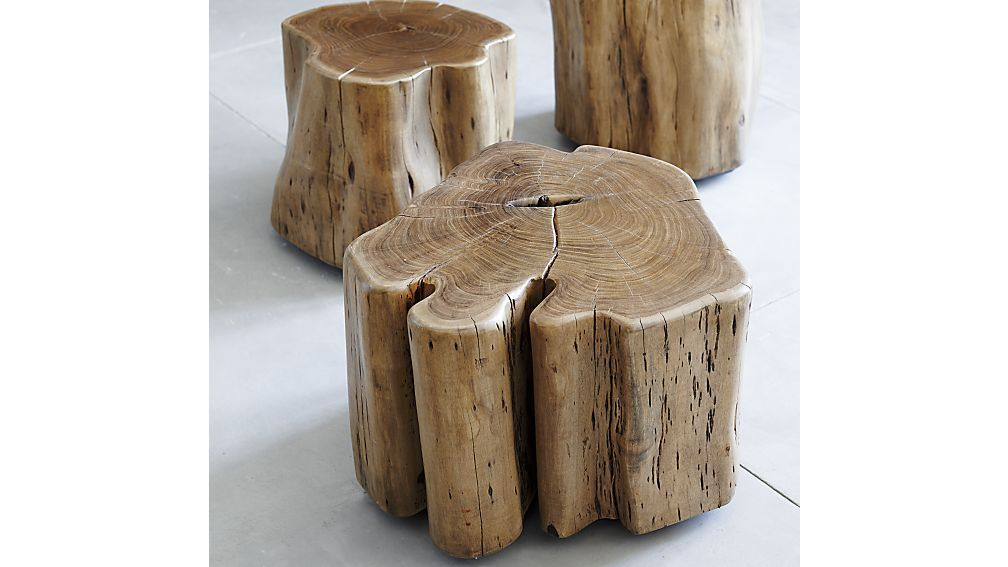 Teton Natural Solid Wood Accent Table Tree Stump Table