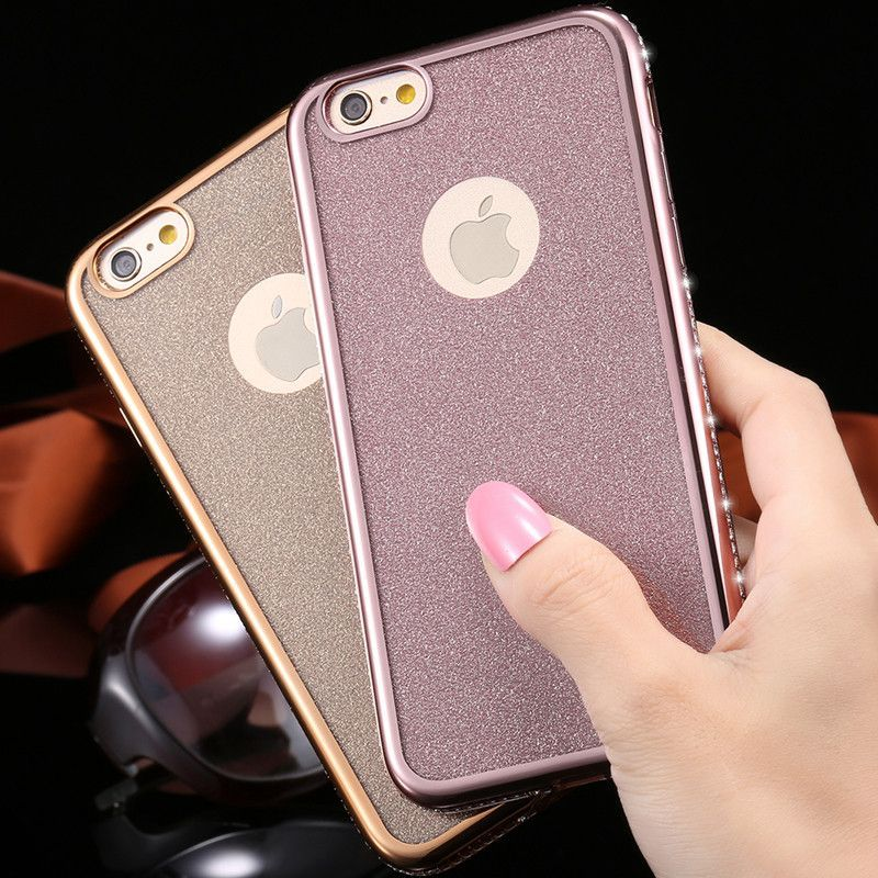 i6/Plus Luxury Bling Diamond Ultra Thin Metal Plating Cover For Apple iPhone6 6S/6s Plus Silicon Super Soft Back Phone Case Capa