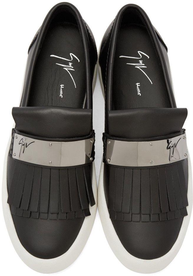 81e22d1579d29 Giuseppe Zanotti Black Fringe Loafer Sneakers | mmmmmmmmm in 2019 ...
