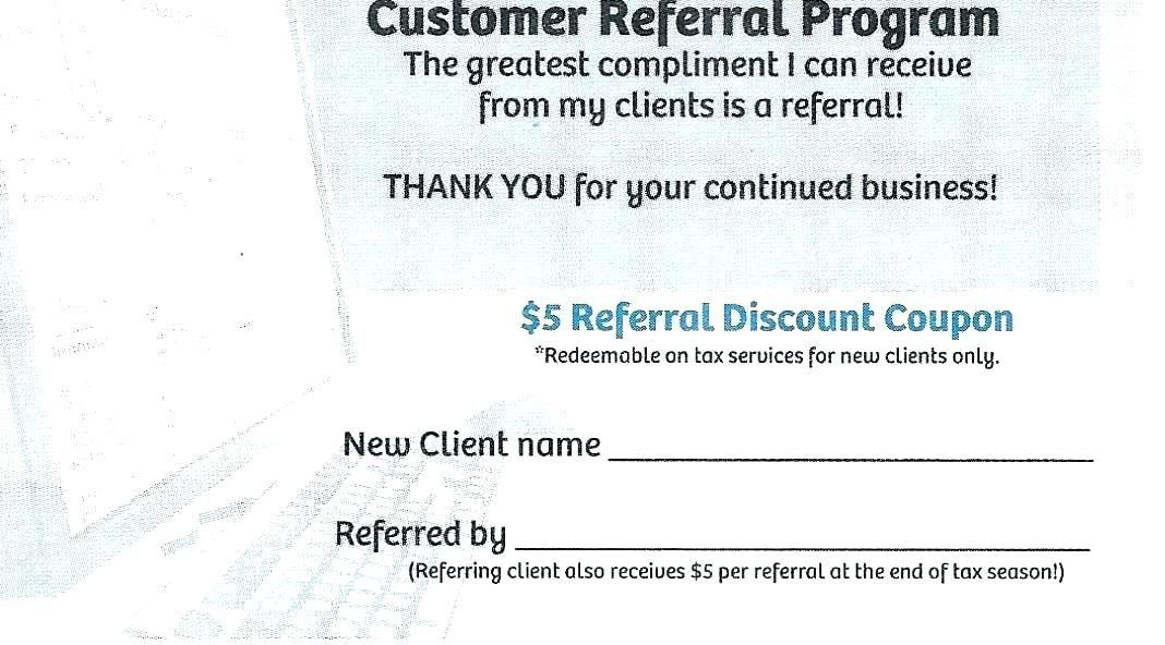 Client referral program letter sample coupon