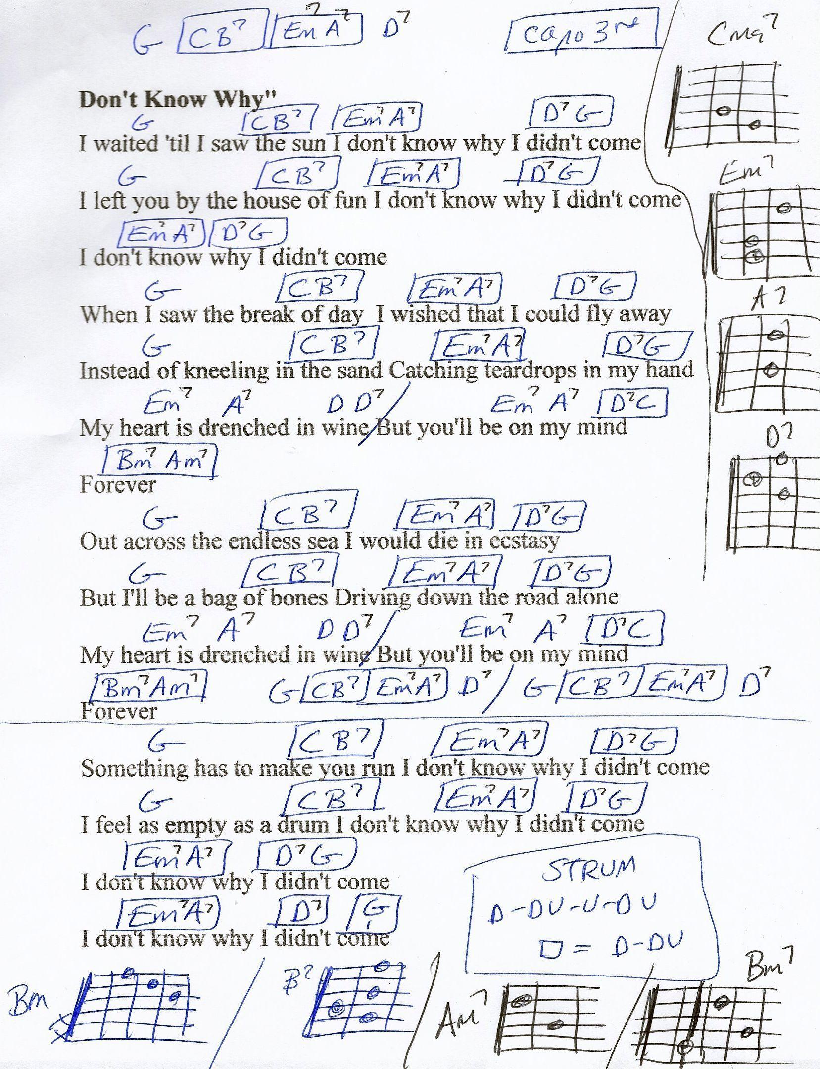 Don T Know Why Norah Jones Guitar Chord Chart Seventh Chords Capo 3rd In 2020 Guitar Chord Chart Guitar Chords Norah Jones
