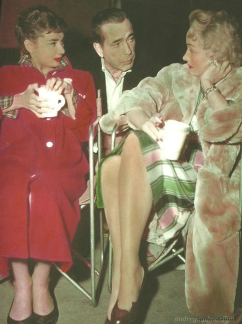 Audrey Hepburn with Humphrey Bogart and Marlene Dietrich on the set of Sabrina, 1953. (Scan by audreyandmarilyn from Audrey Hepburn: The Paramount Years)