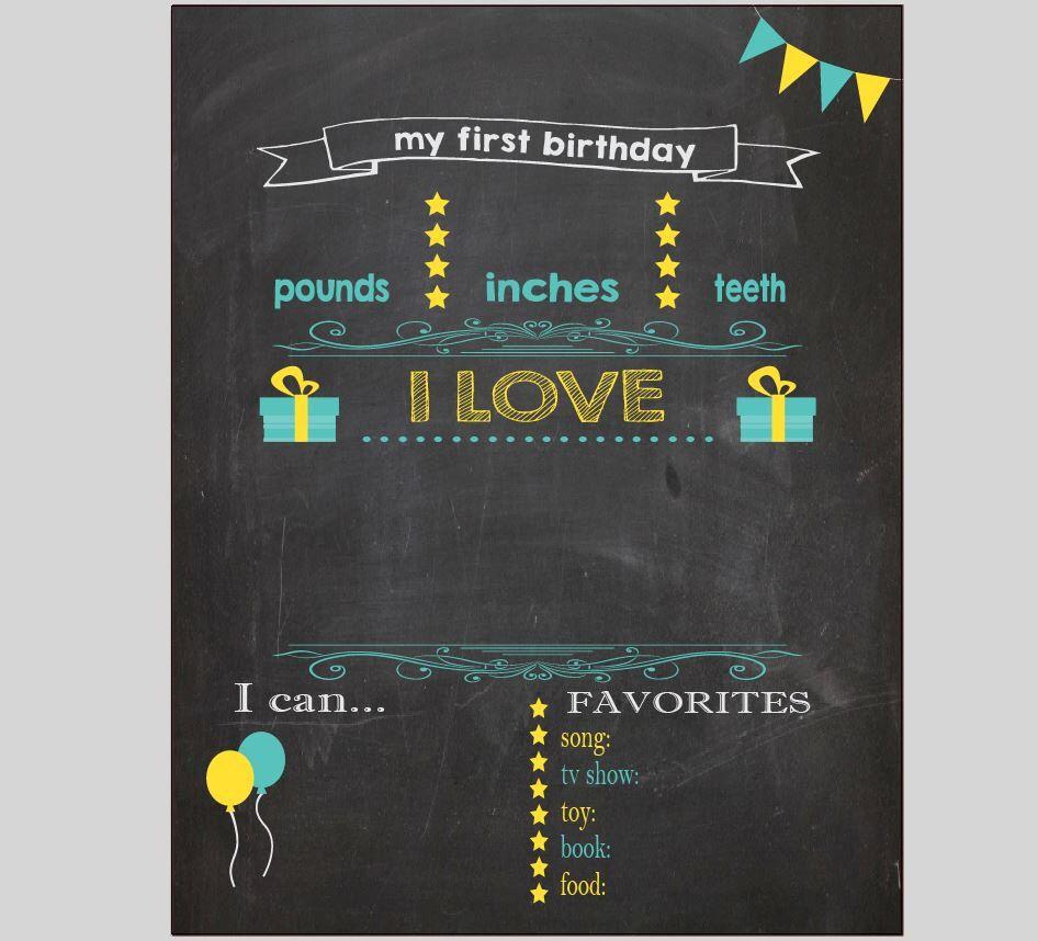 Blank First Birthday Chalkboard Diy 1st Birthday Board Digital Printable Poster Reusable Birthday Chalkboard First Birthday Chalkboard Birthday Chalkboard Sign First birthday chalkboard template free