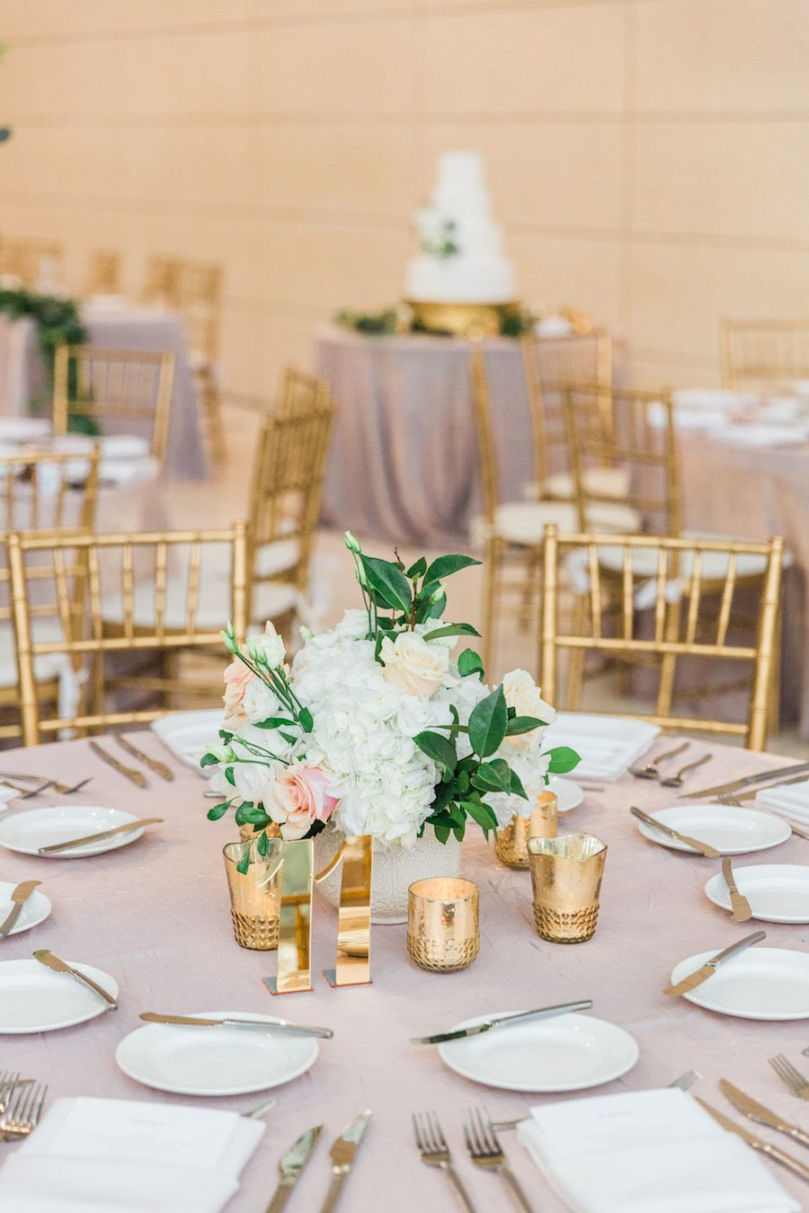 Chic White And Blush Florida Wedding With Gold And Greenery Wedding Table Decorations Wedding Table Wedding Centerpieces