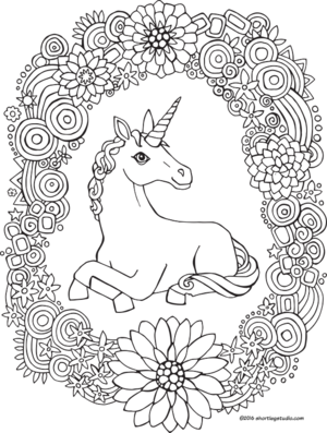 Hard Rainbow Unicorn Coloring Pages