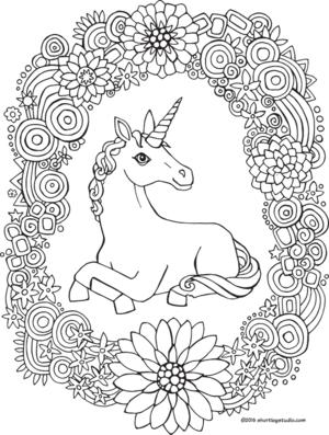 Unicorn Rainbow Wreath Coloring Page