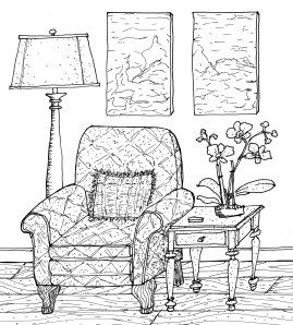 Interior Line Drawing With A Variety Of Texture With Images