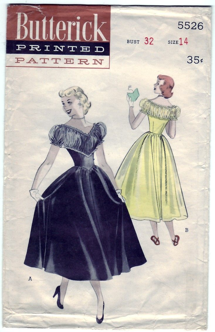 Vintage 1950 Butterick 5526 Sewing Pattern Teen-Age Dance Dress ...
