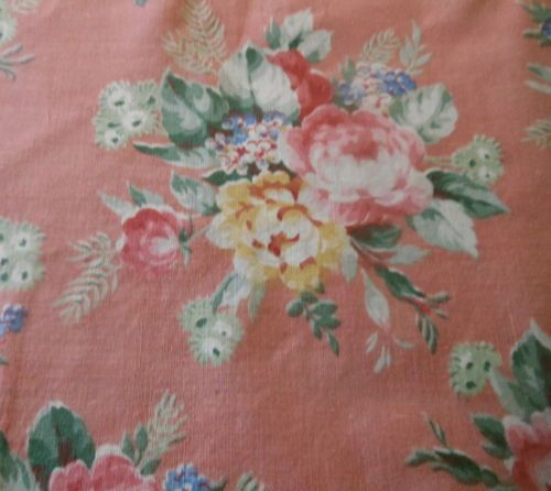 Antique Cottage Roses Mum Floral Polished Cotton Fabric ~dusty peach yellow rose