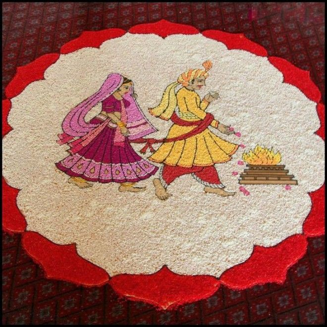 Wedding Kolam Images: Wedding Pulses Rangoli Design - 6