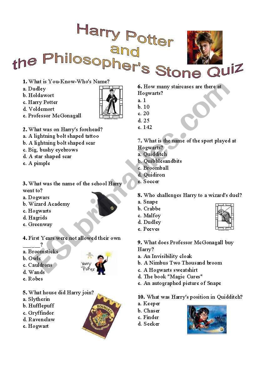A Quiz To Answer After Reading Or Watching Harry Potter And The Philosopher S Stone The Anser Key Harry Potter Harry Potter Gifts Diy Harry Potter Activities [ 1169 x 821 Pixel ]