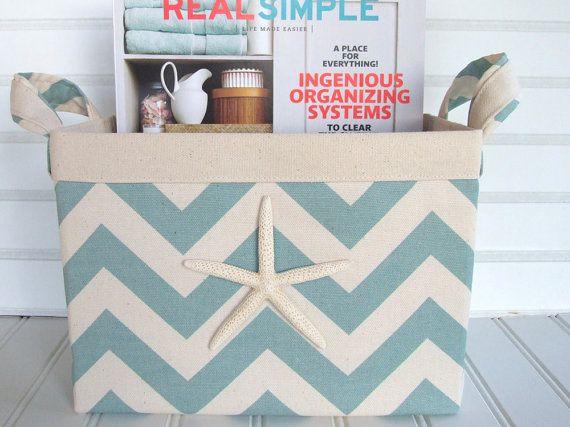 Ordinaire Coastal Turquoise Chevron Fabric Storage Basket For Your Beach House Via  Etsy