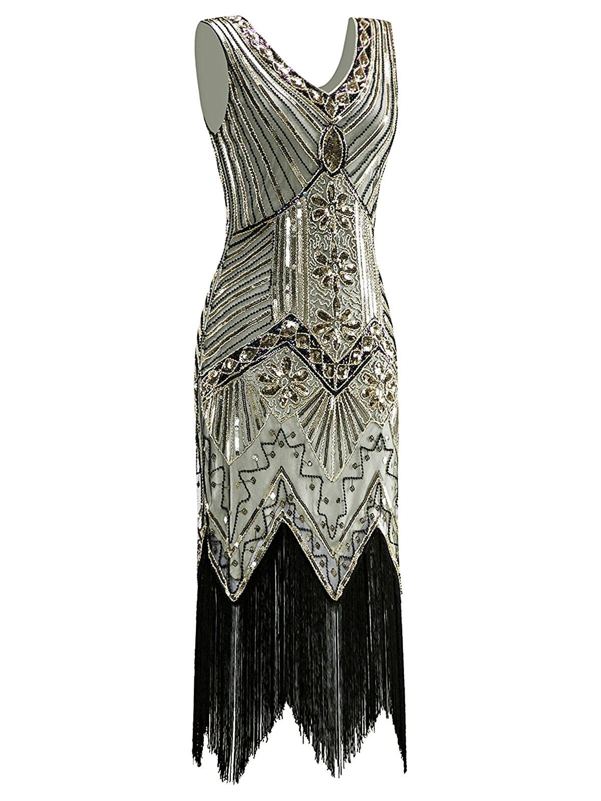 57a6435c1c2f Champagne 1920s Sequined Flapper Dress – Retro Stage - Chic Vintage Dresses  and Accessories