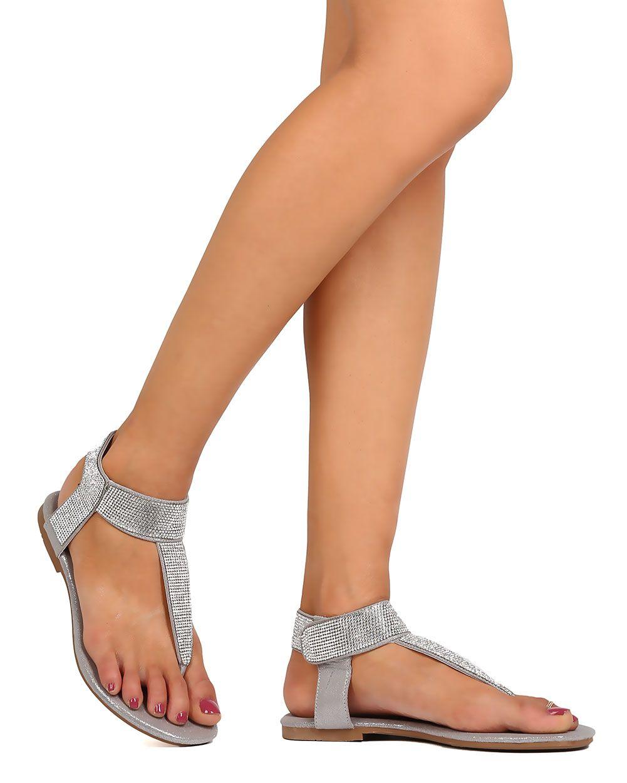 d6d56a62f New-Women-Liliana-Zaha-1-Fabric-T-Strap-Rhinestone-Ankle-Strap-Sandal