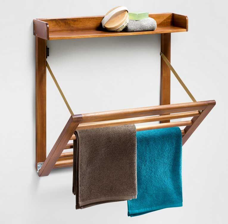 Handtuchhalter Stange Holz Klappbar Mit Regale Fur Naturliches Badezimmer Mobel Ideen Handtuchhalter Handtuchhalter Stange Badezimmer Mobel